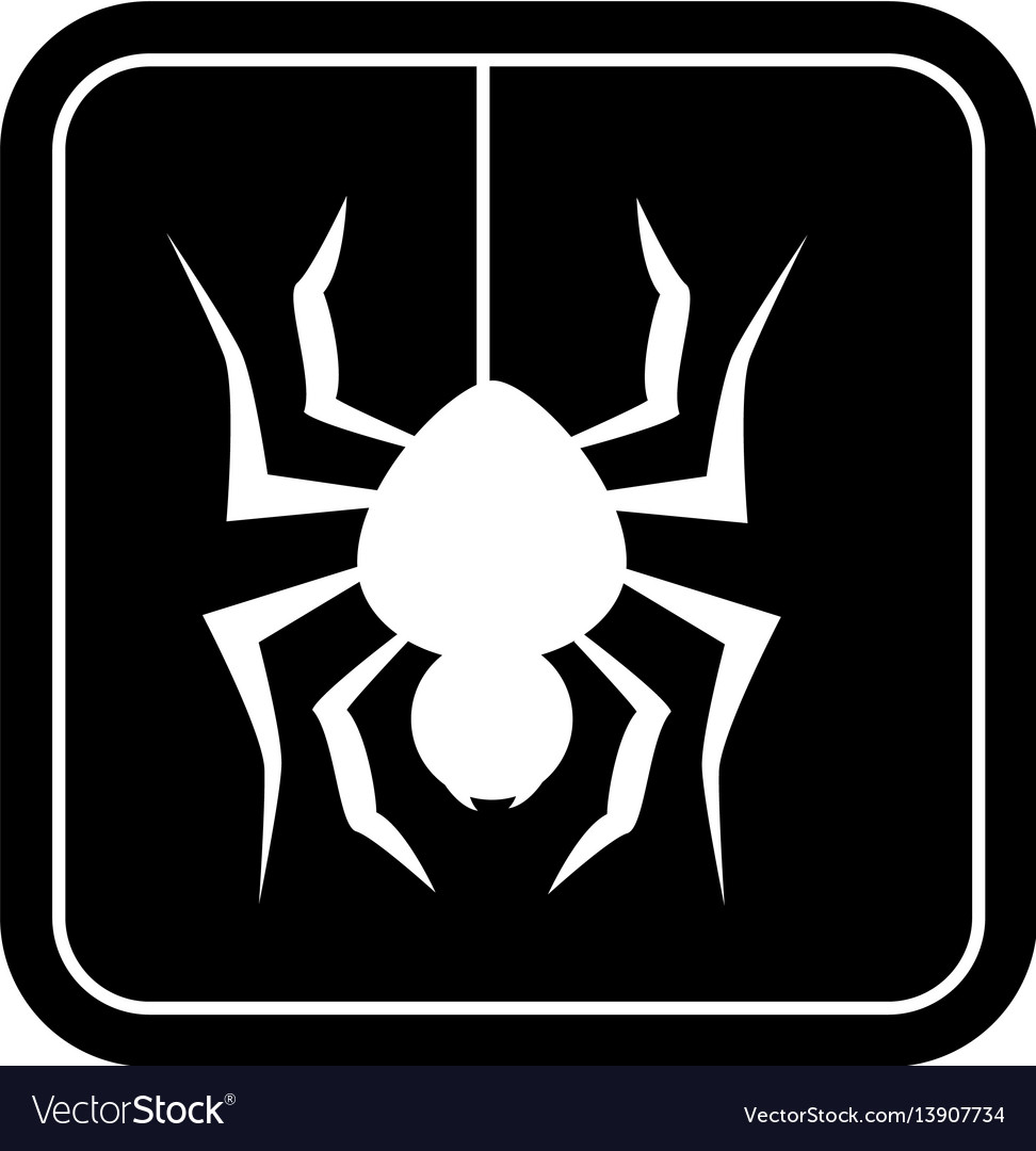 Monochrome square silhouette with spider