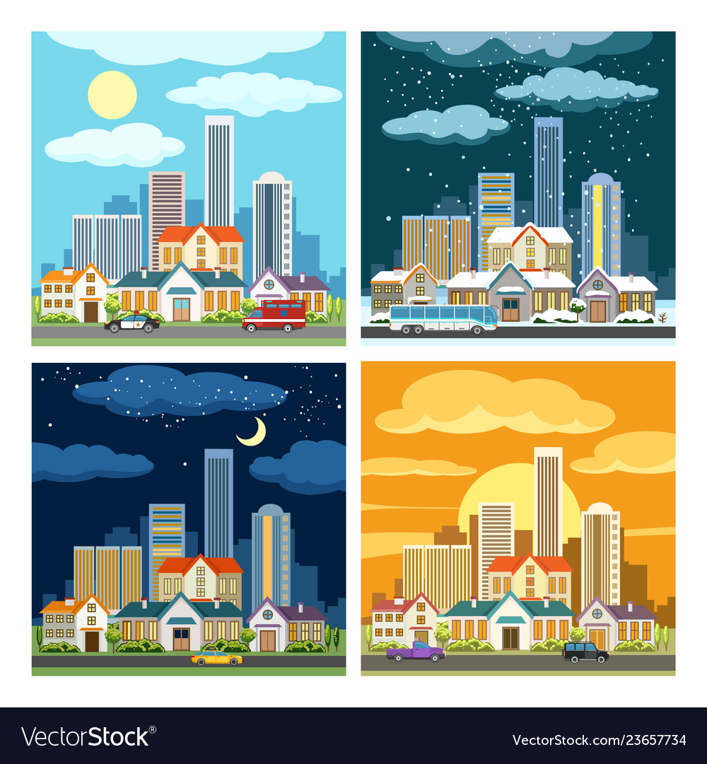 Night and day cityscape