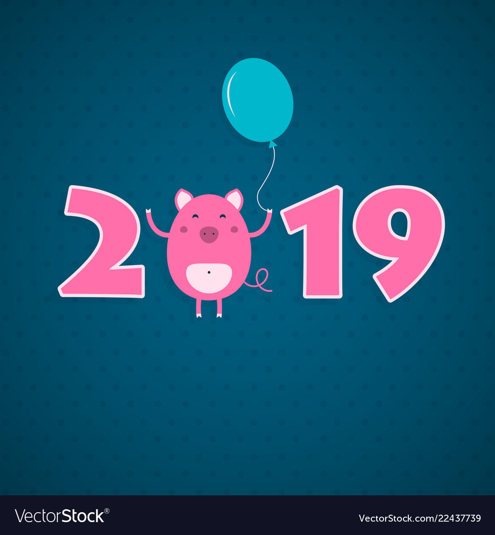 2019 new year card with pig