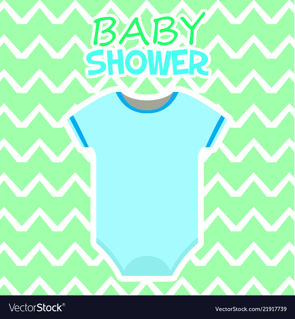 Baby shower card with baby clothes
