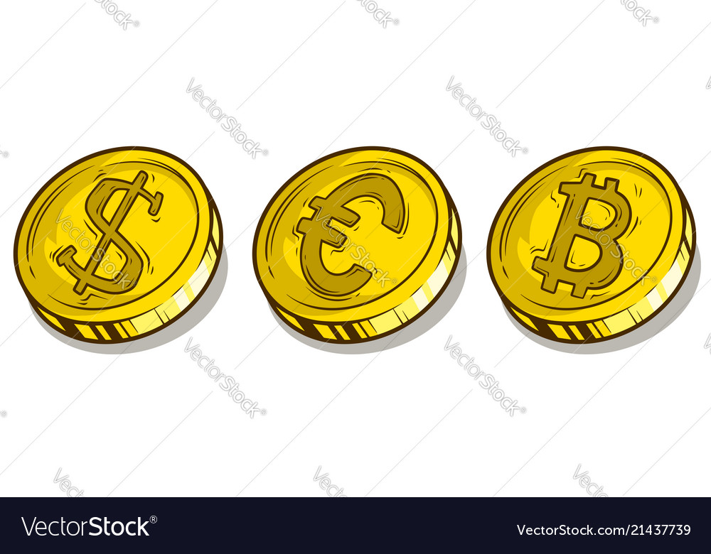 Cartoon Bitcoin Dollar And Euro Coins Set Vector Image