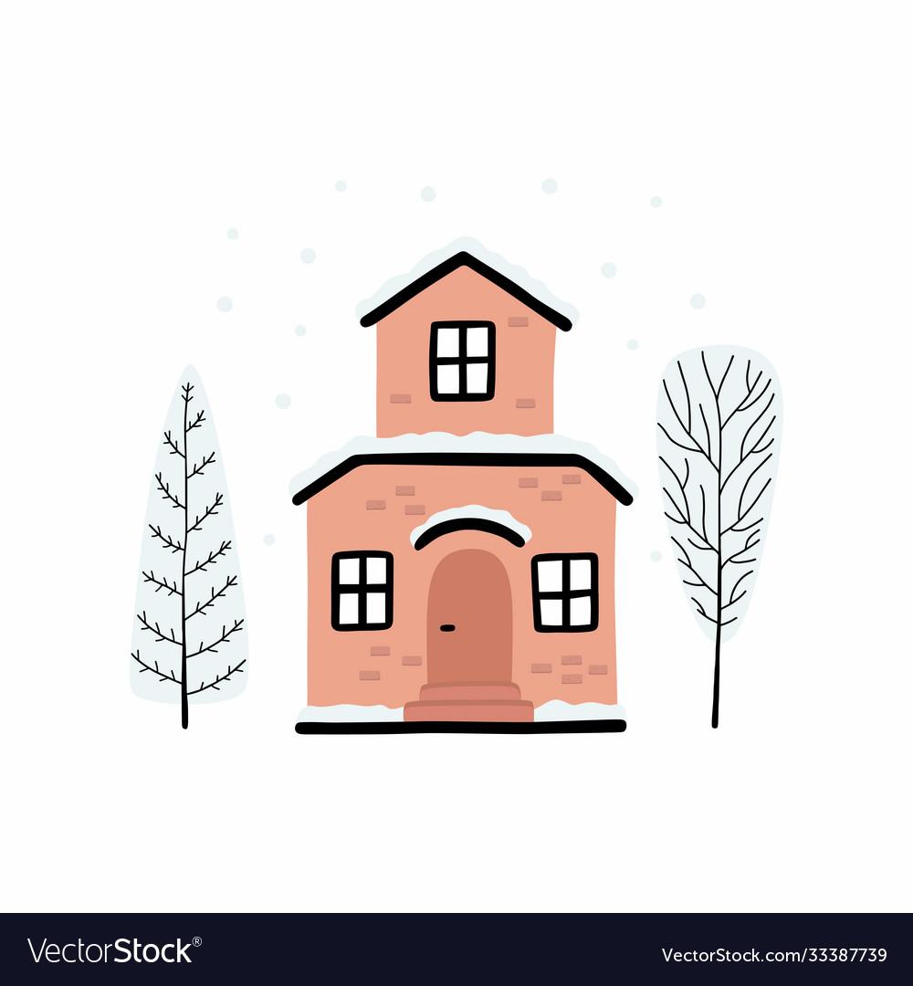 Cartoon winter house image a christmas