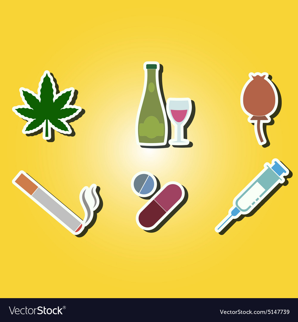 Color Icons With Symbols Of Drug Addiction Vector Image