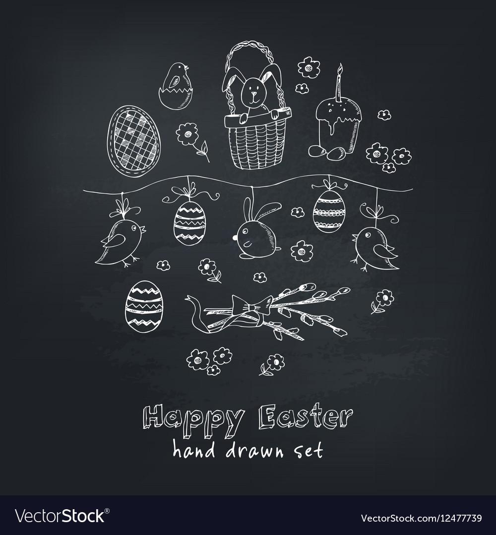 Easter traditional doodle symbols set