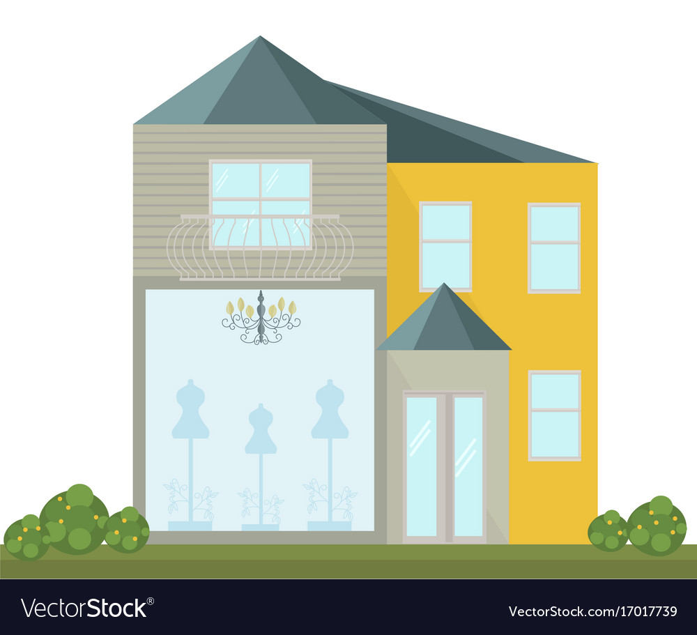 Fashion store facade modern architecture vector image