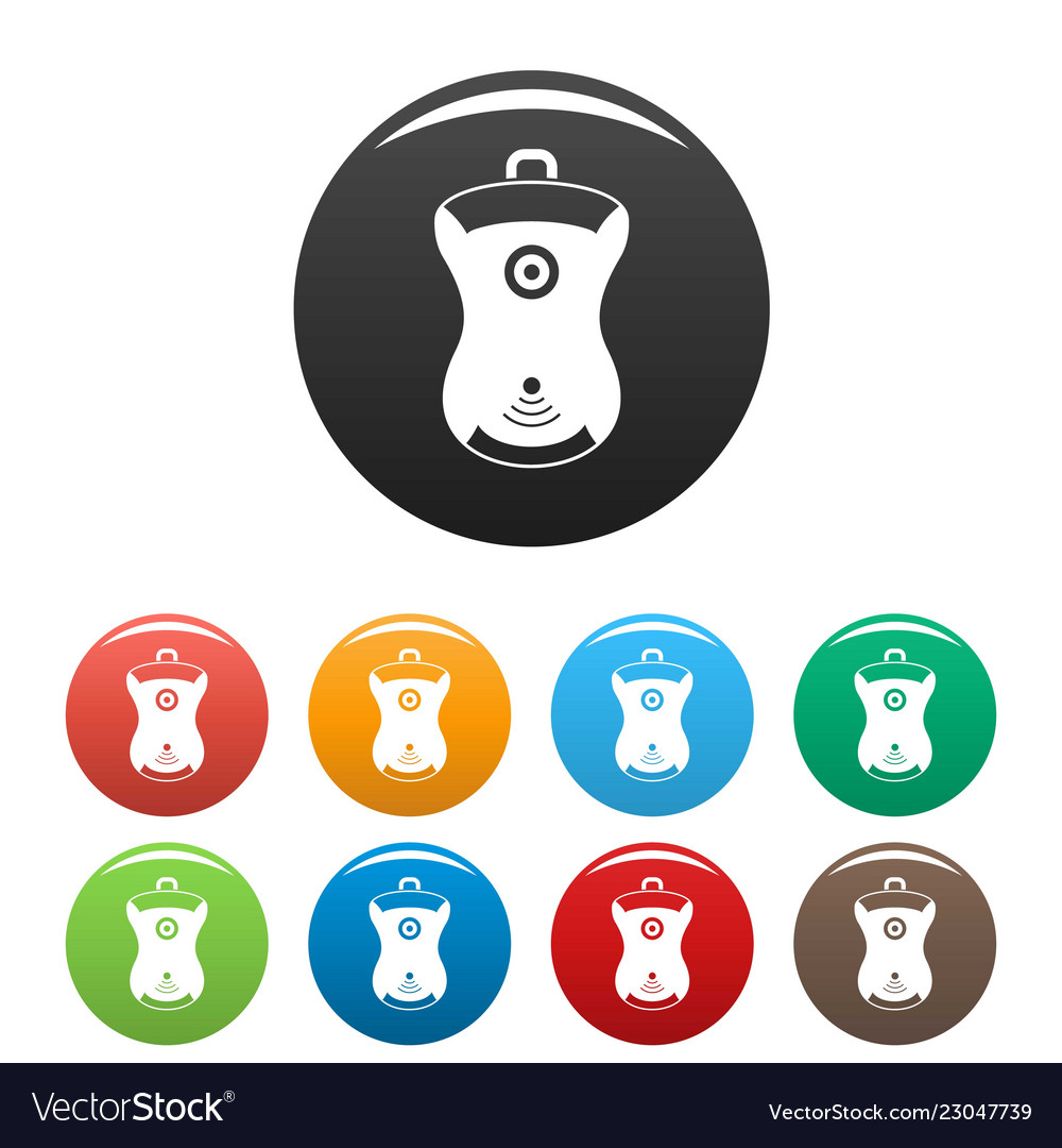 Gps device location icons set color