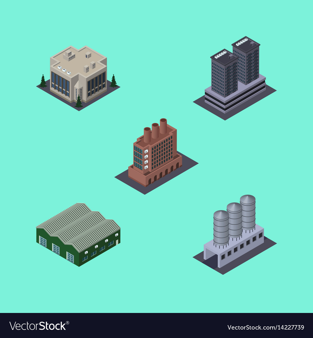 Isometric architecture set of industry company