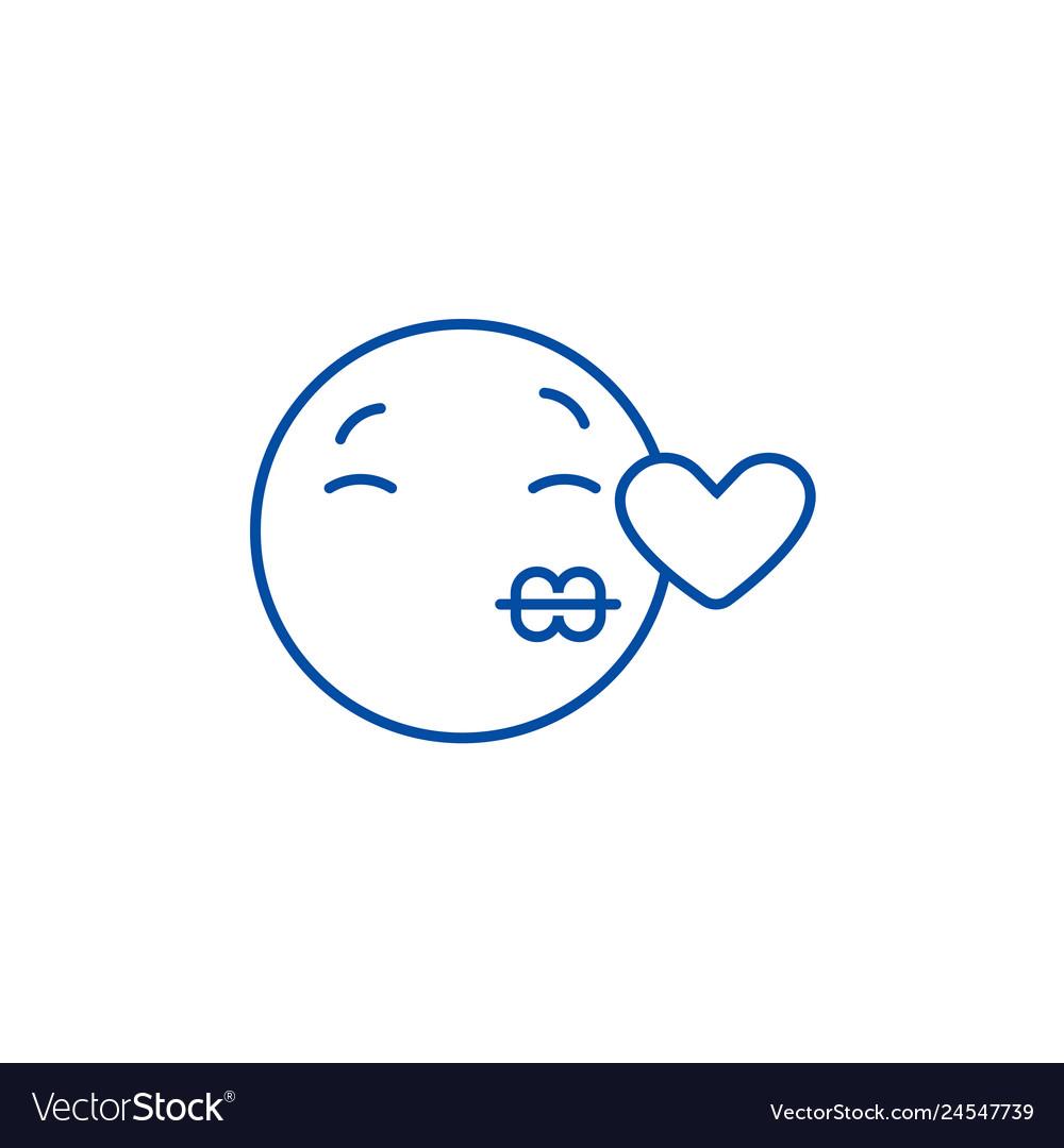 Kissing emoji line icon concept kissing emoji