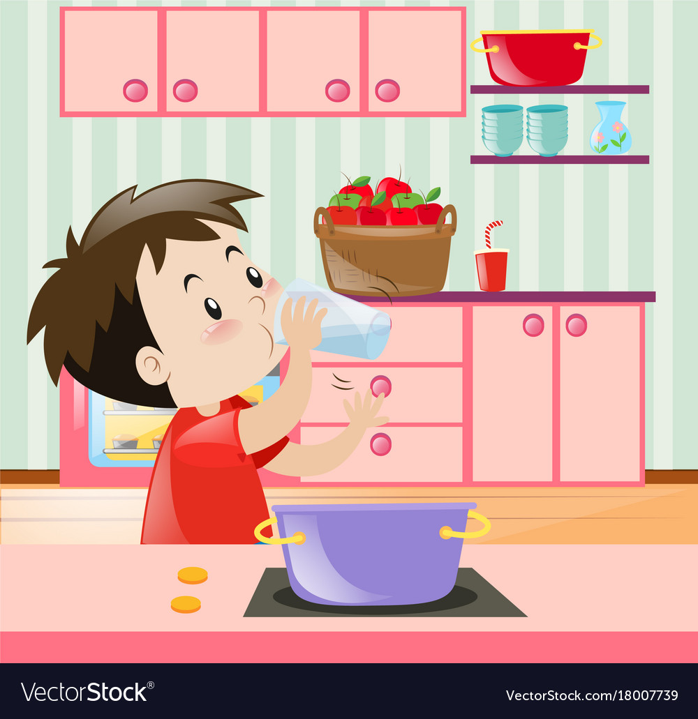 little boy drinking water in kitchen royalty free vector