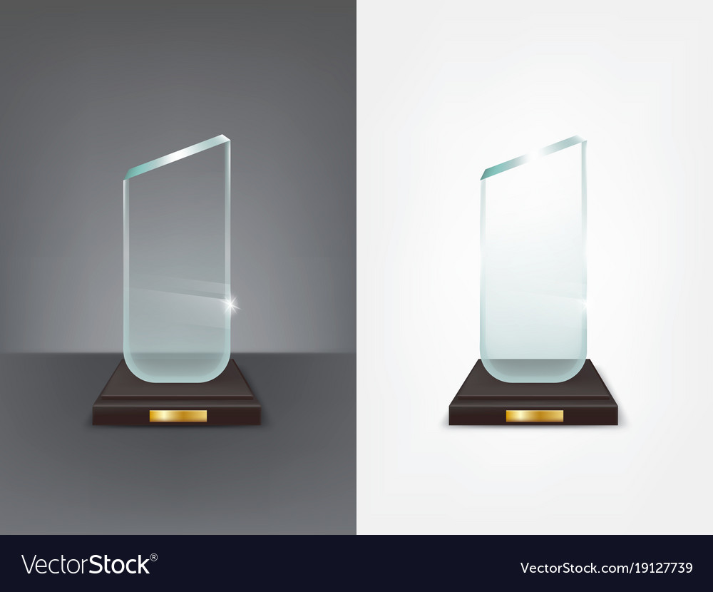 Realistic glass trophy sport and business award