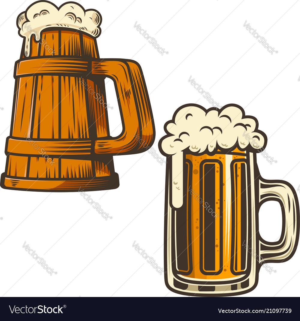 Set beer mug on white background design