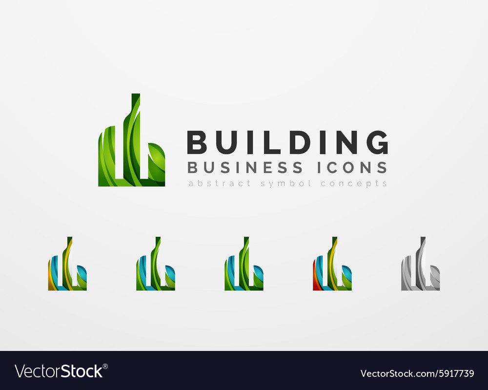 Set of real estate or building logo business icons