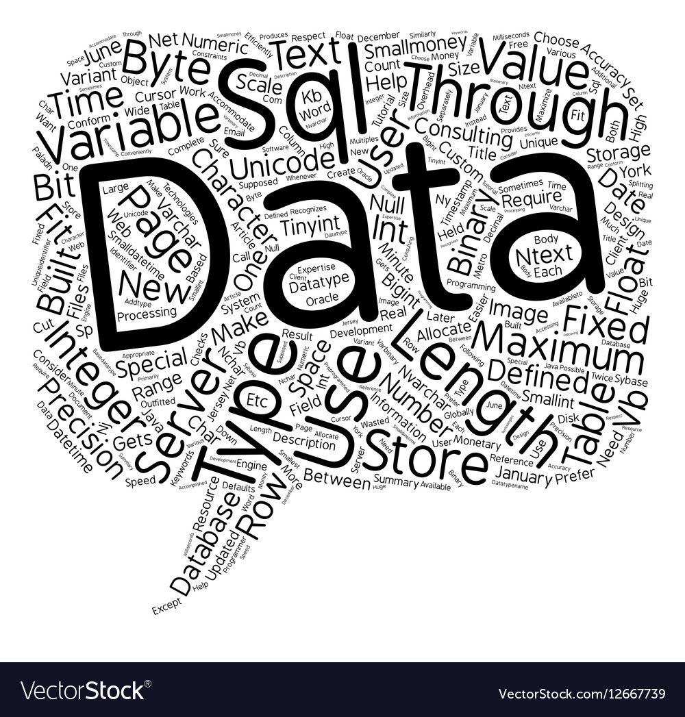 SQL Server Data Types text background wordcloud