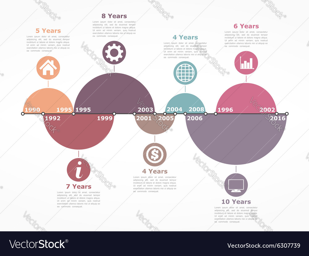 Timeline Infographics Template with Circles vector image