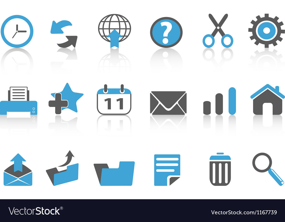 Toolbar icons setblue series vector image
