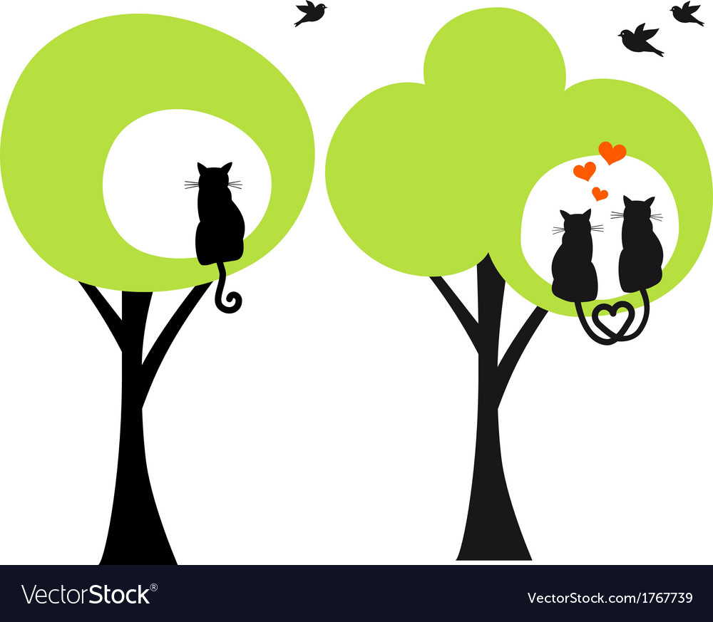 Trees with cats and birds