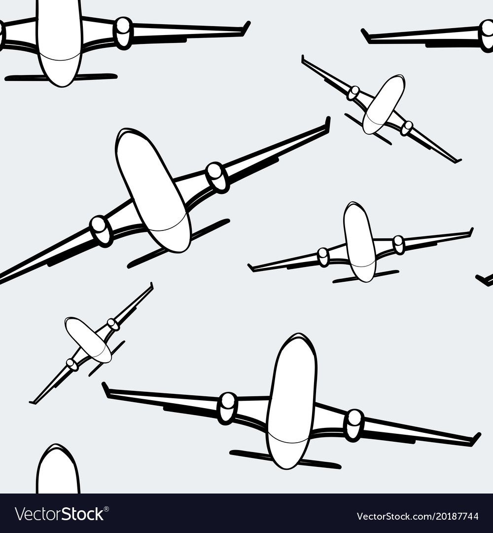 Black and white airplanes seamless background air