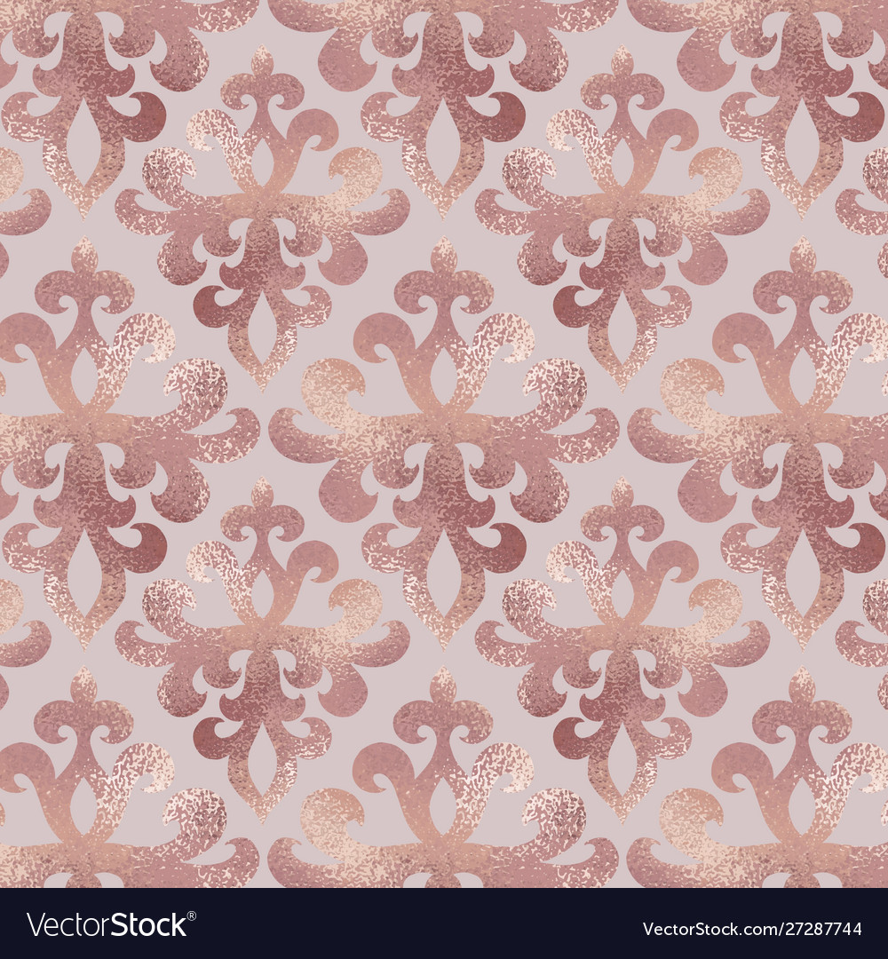 Damask Pattern Rose Gold Background With Ornament Vector Image