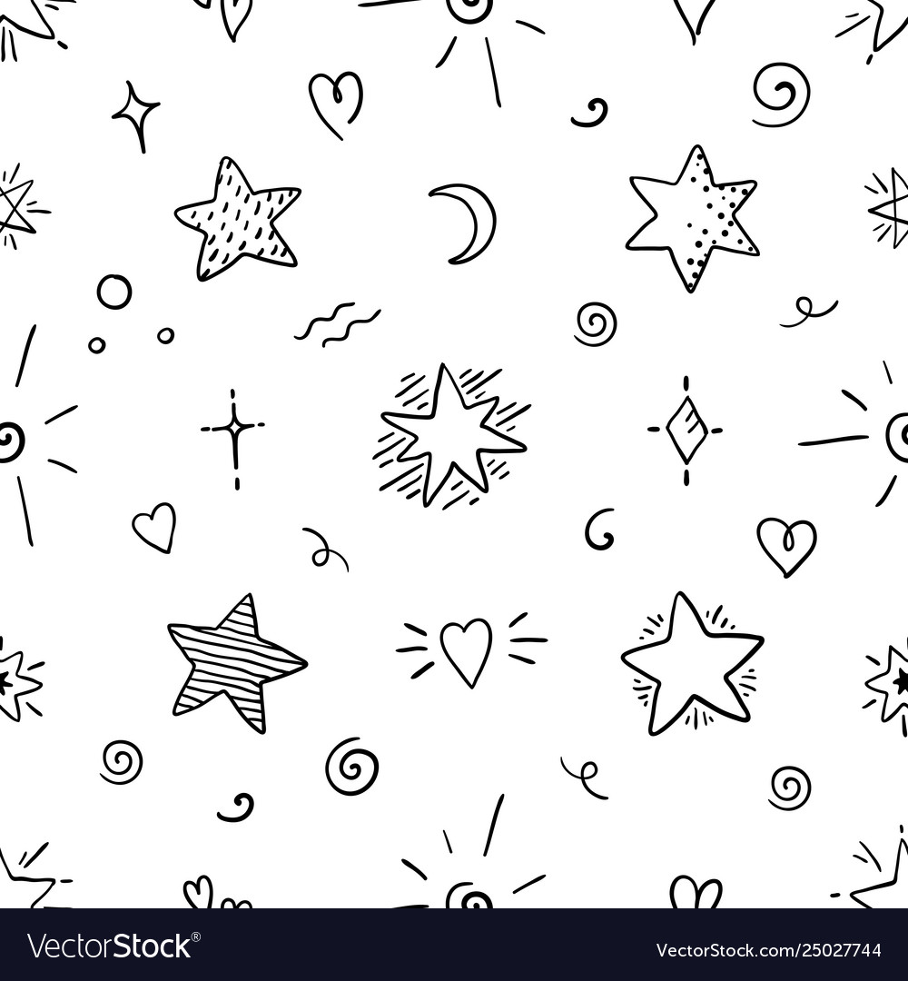 Doodle star seamless pattern magic party sketch