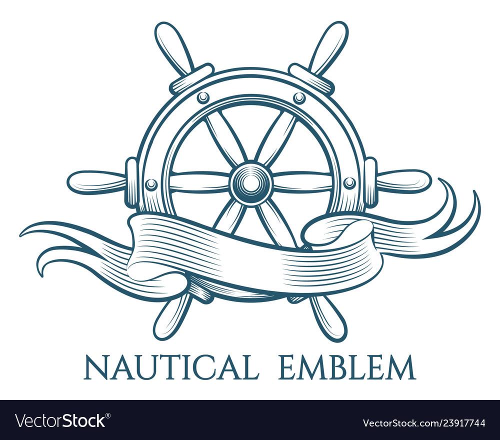 Engraving nautical emblem