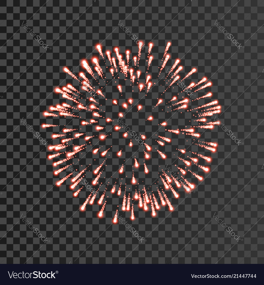 Firework red bursting isolated transparent