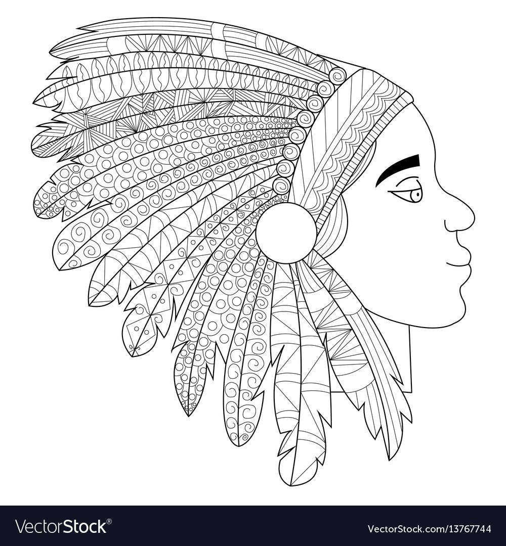 Head of an indian in headdress war bonnet