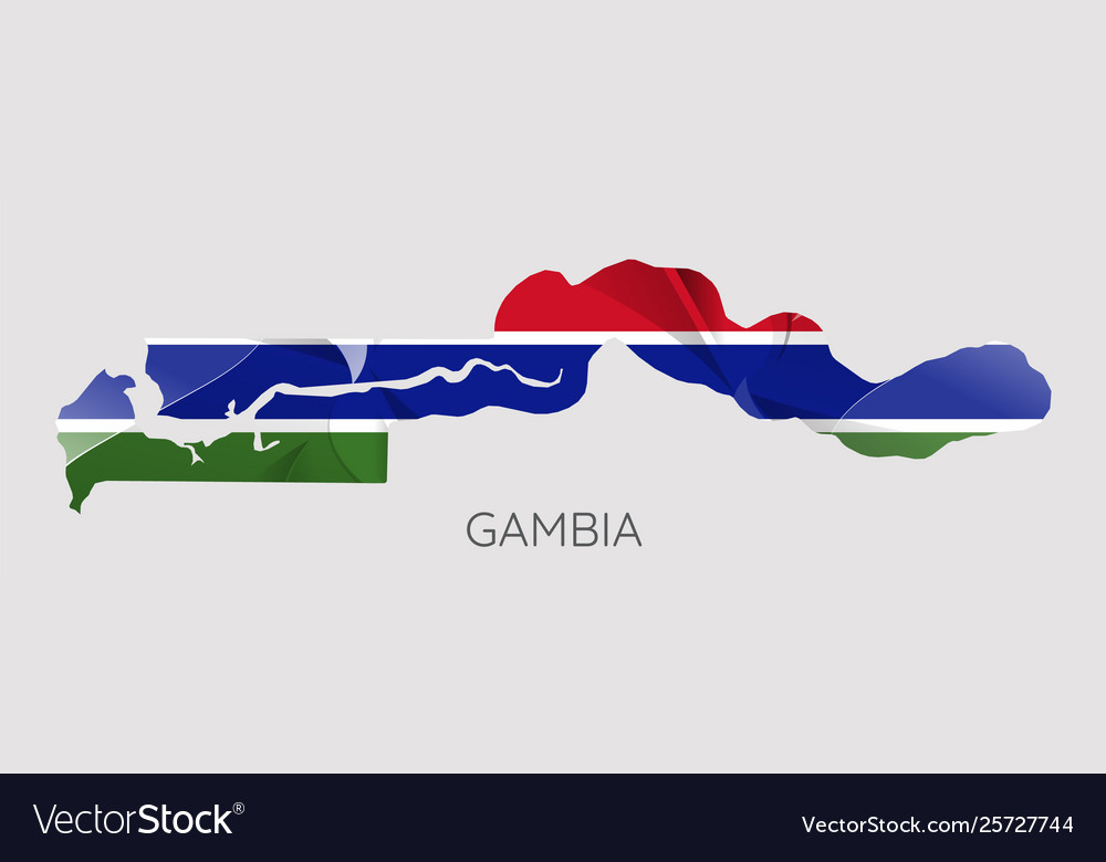 Map gambia with an official flag on white