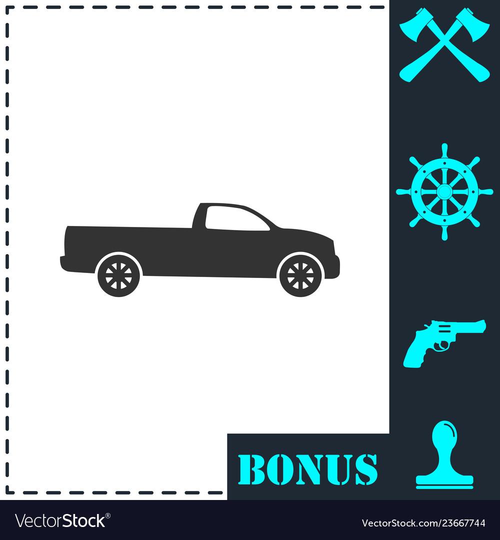 Pickup truck icon flat