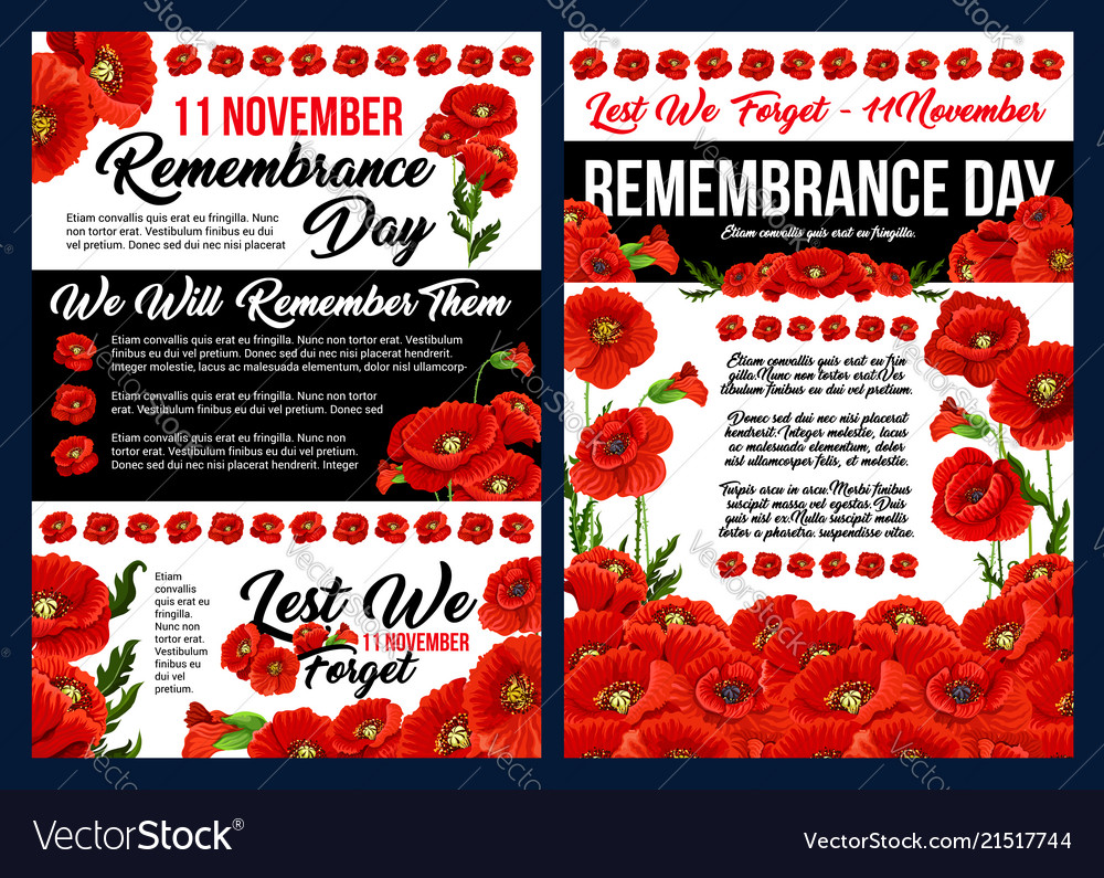 Remembrance day banner with red poppy flower vector image mightylinksfo