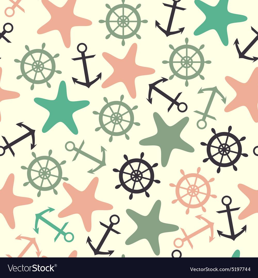Seamless pattern helm anchor starfish