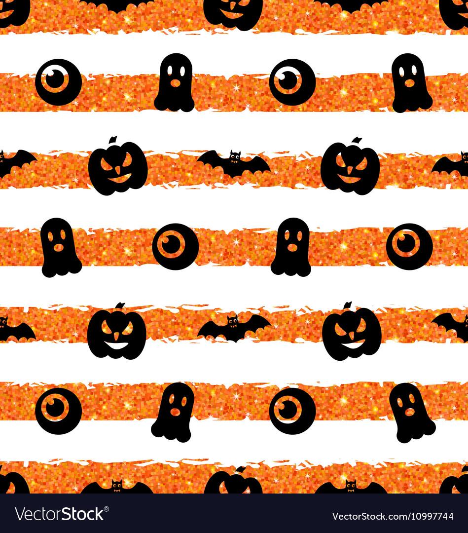 Seamless Texture with Pumpkin Bat Spooky Eye