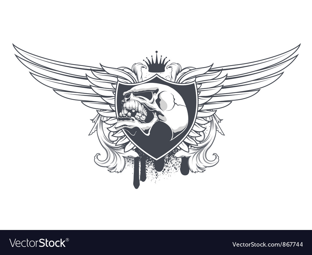 Skull with floral and wings vector image