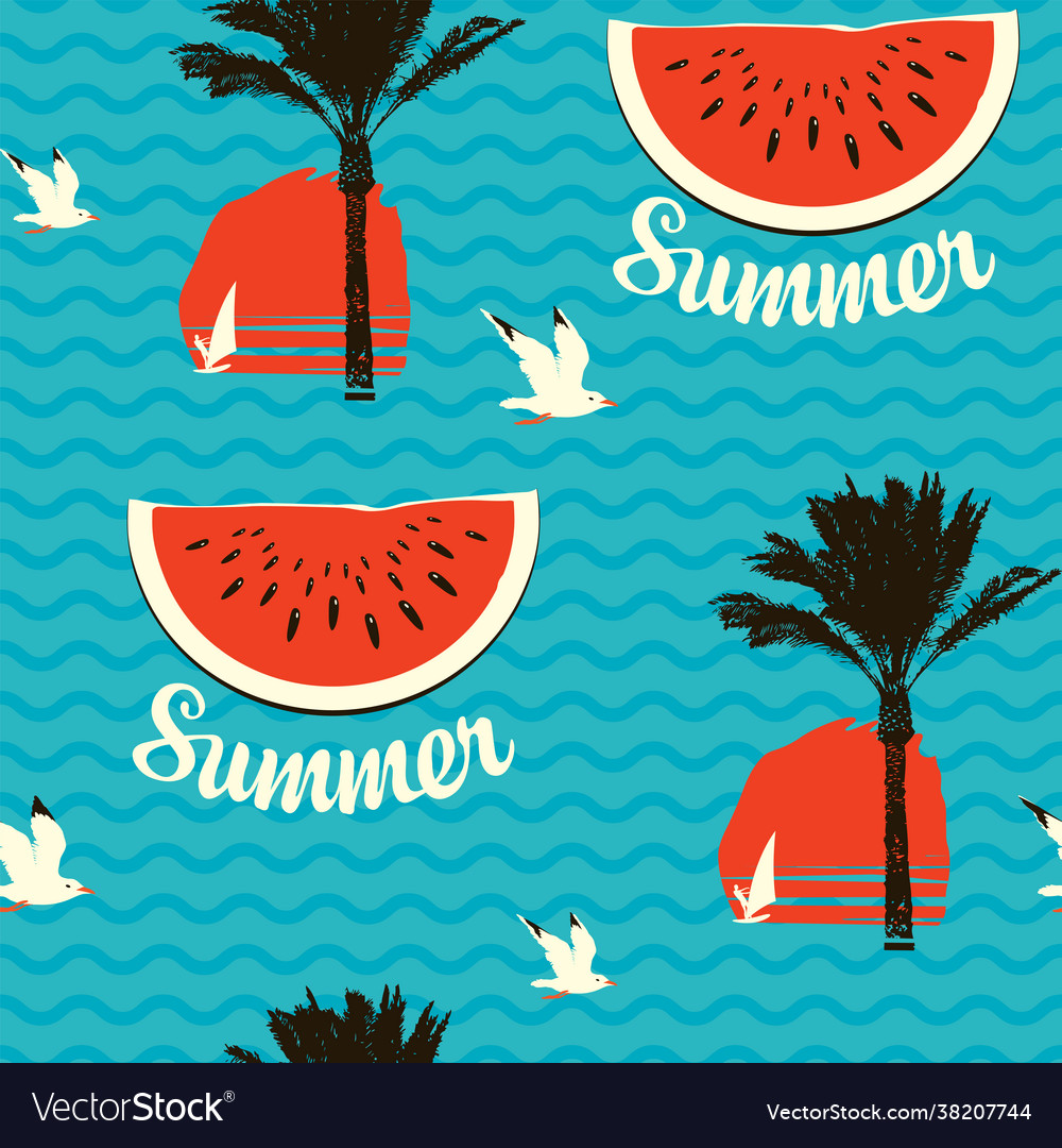 Summer seamless pattern with palms and watermelons
