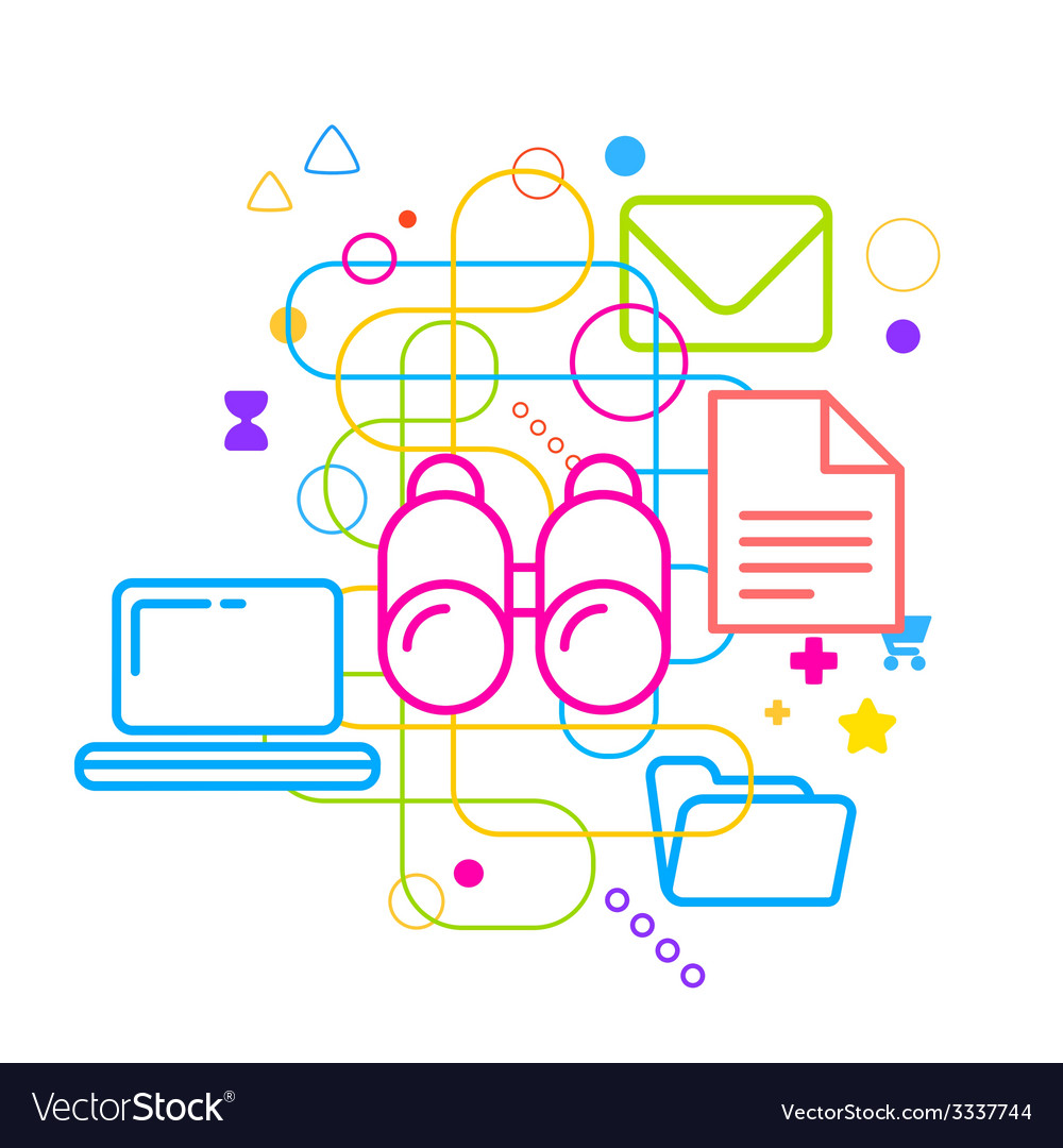 Symbols Of Internet Search On Abstract Light Vector Image