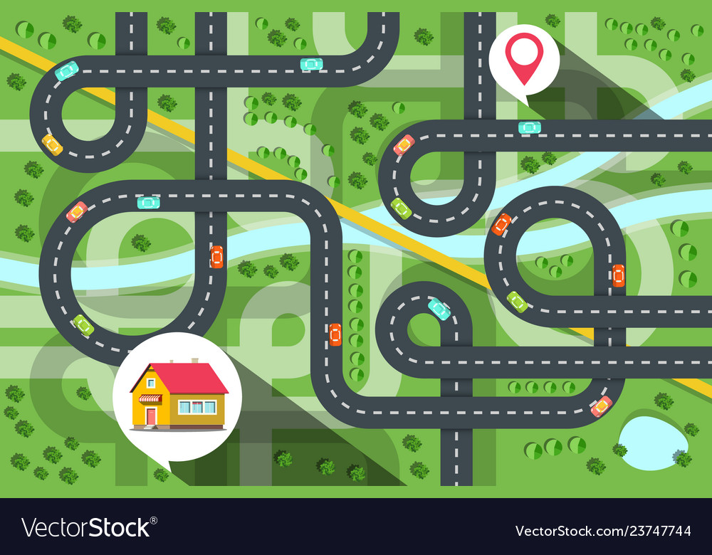 Top view city map with cars on road river and