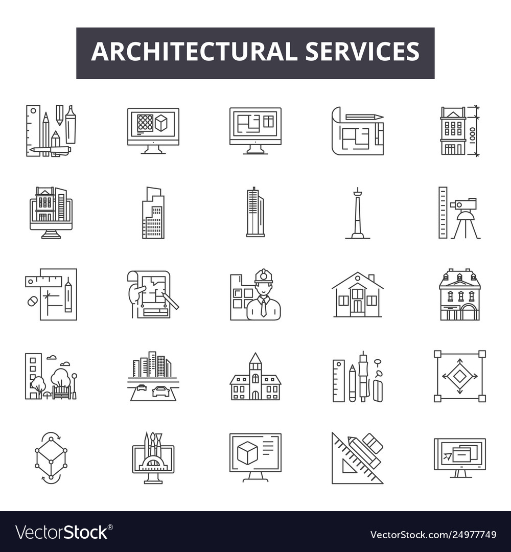 Architechtural services line icons signs