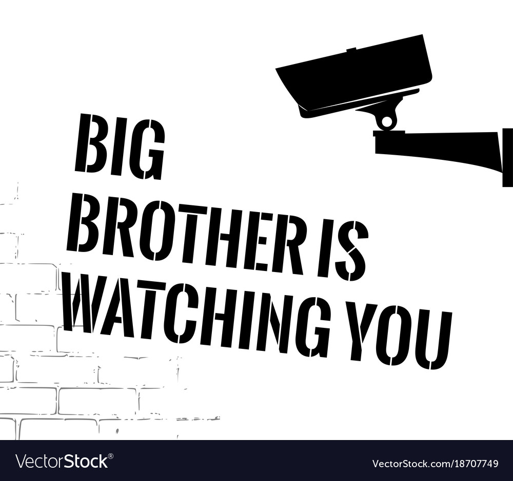 Big brother poster with security camera royalty free vector.