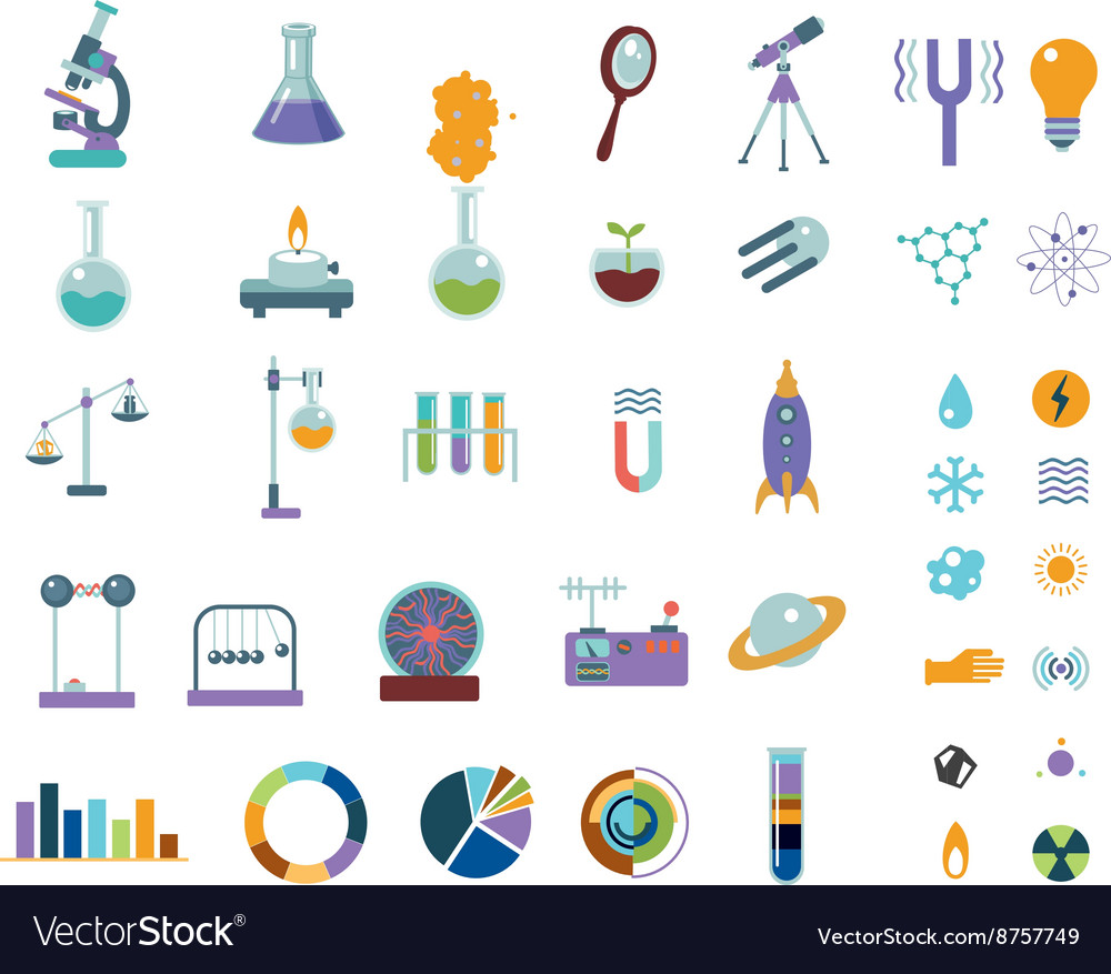 Big science icons set Isolated on white lab