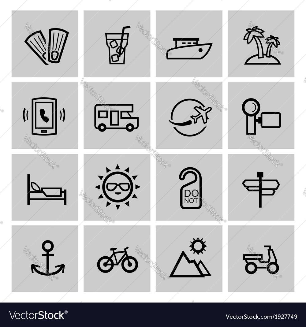 Black vacation travel icon set