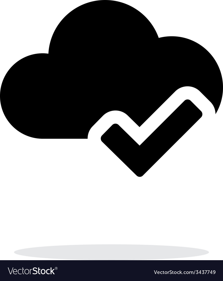 Check cloud simple icon on white background