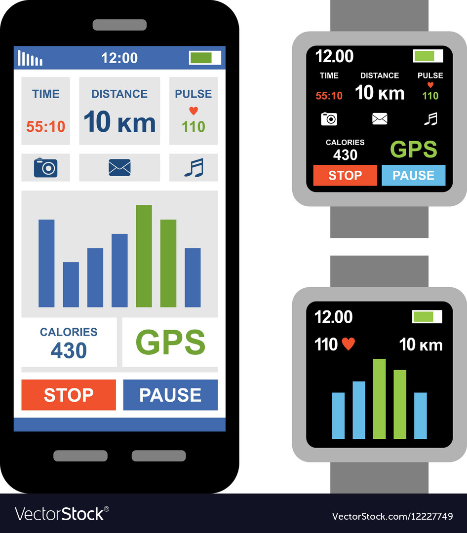 Fitness tracker app for smartwatch and smartphone