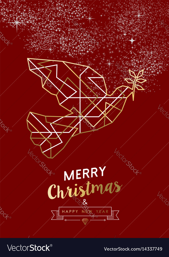 Merry christmas new year peace dove outline gold