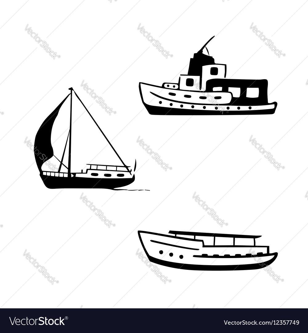 Ocean transport set yacht motor boats vector image