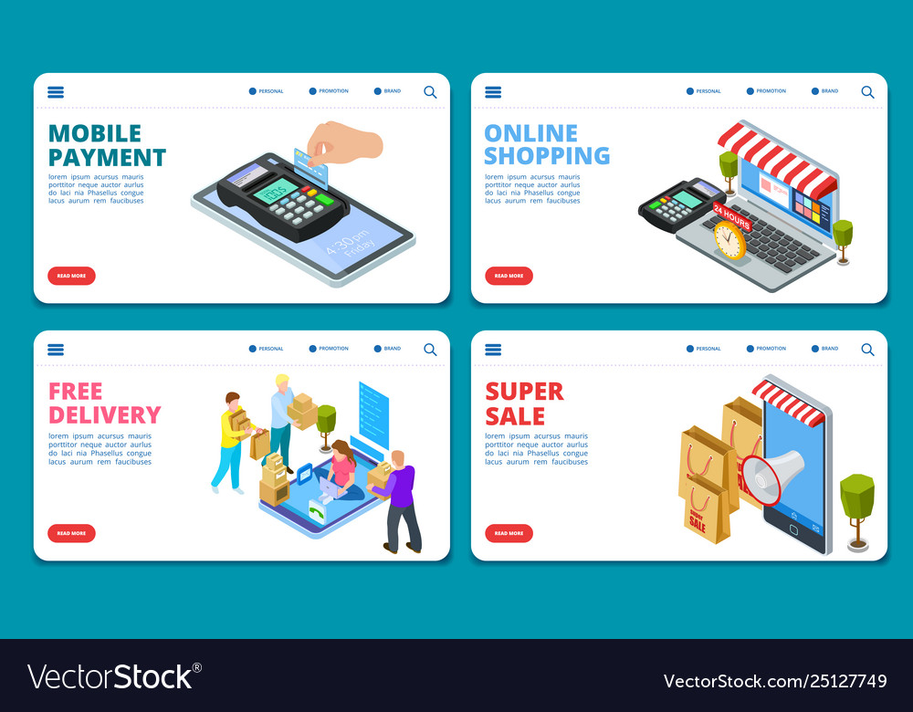Online shopping sale delivery isometric
