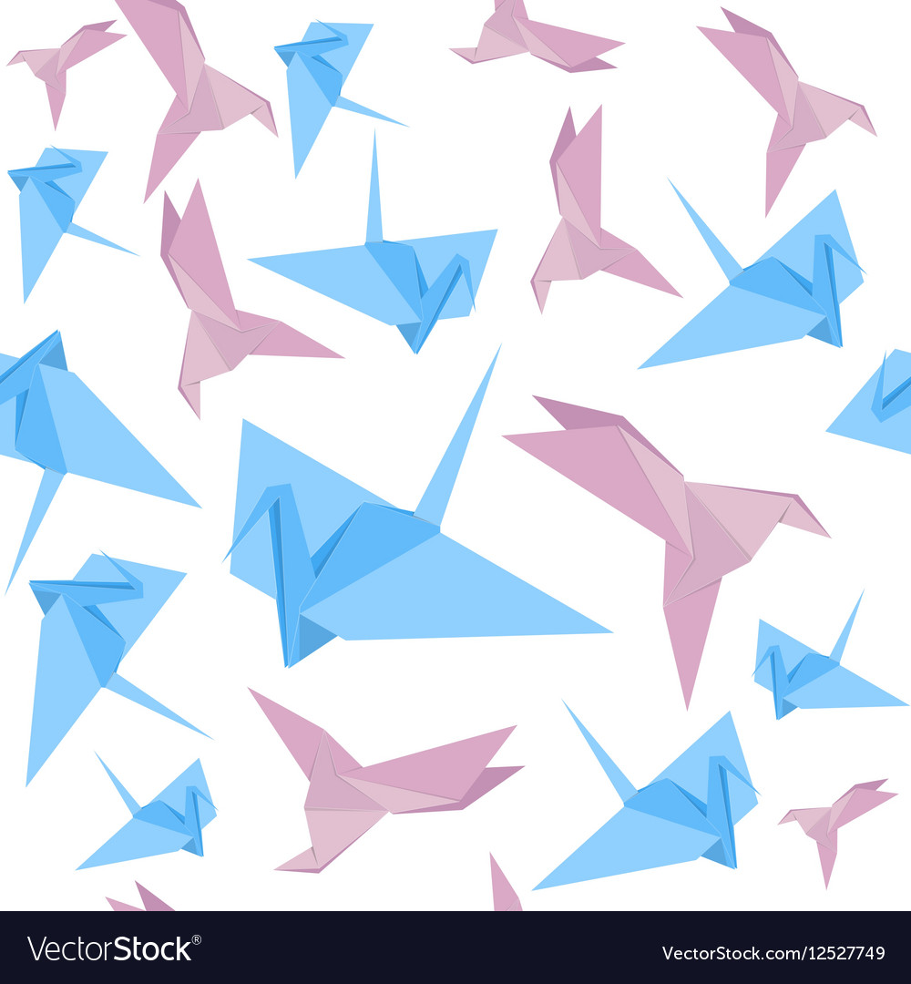 origami paper crane background pattern royalty free vector