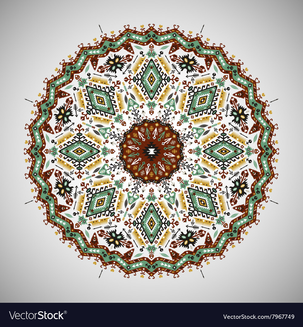 Ornamental round colorful geometric pattern in