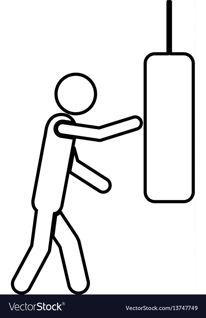 Person knocking punching bag vector image