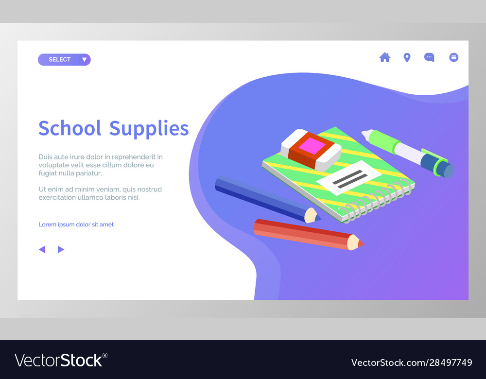 School supplies books and pencils for lessons