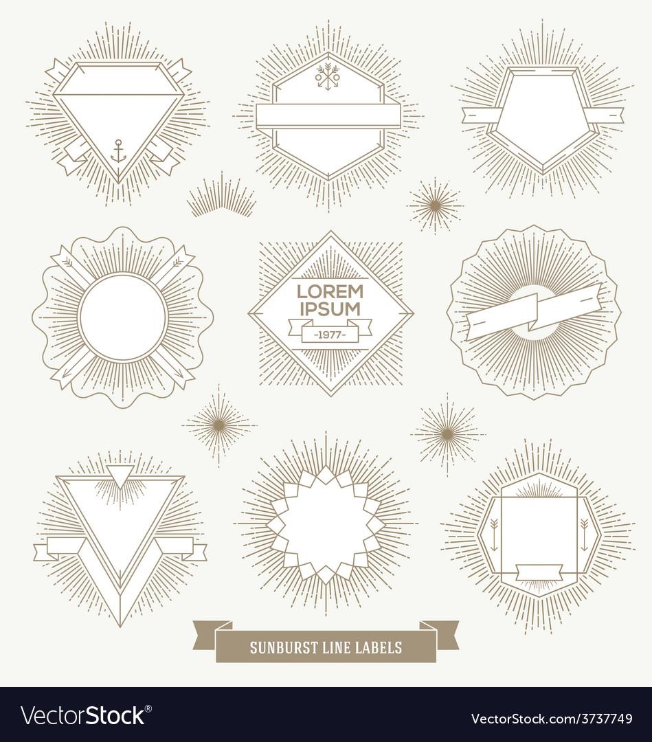 Set line design emblem and hipster labels