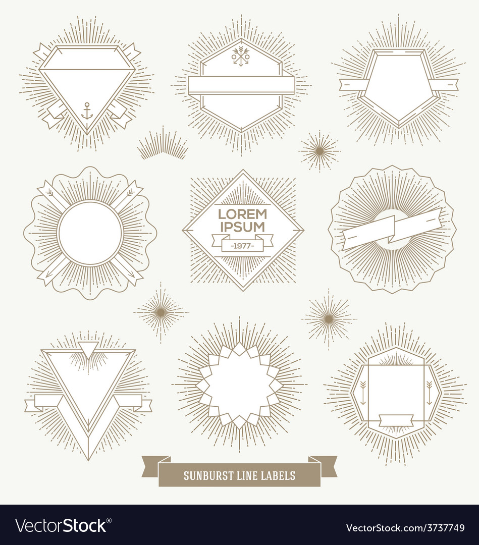 Set of line design emblem and hipster labels
